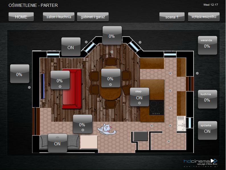 Przykładowy screen z aplikacji sterującej domem