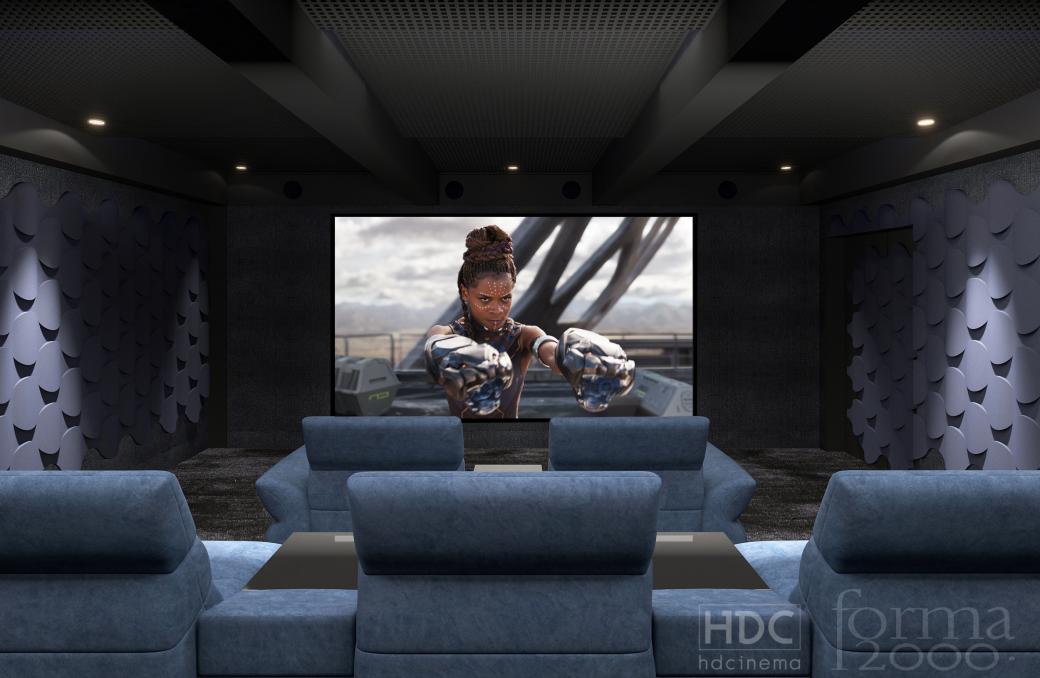 Domowa sala kinowa dla 9 osób - projekt i realizacja